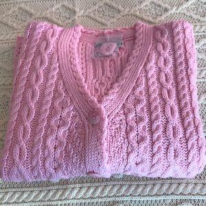 Aran Crafts 100% Merino Wool soft pink Cardigan L